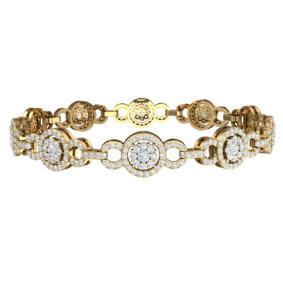 5 CTW Certified SI/I Diamond Halo Bracelet 18K Yellow - 3