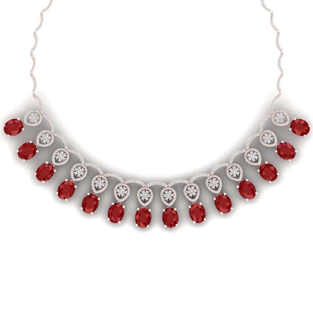 54.05 CTW Royalty Ruby & VS Diamond Necklace 18K Rose