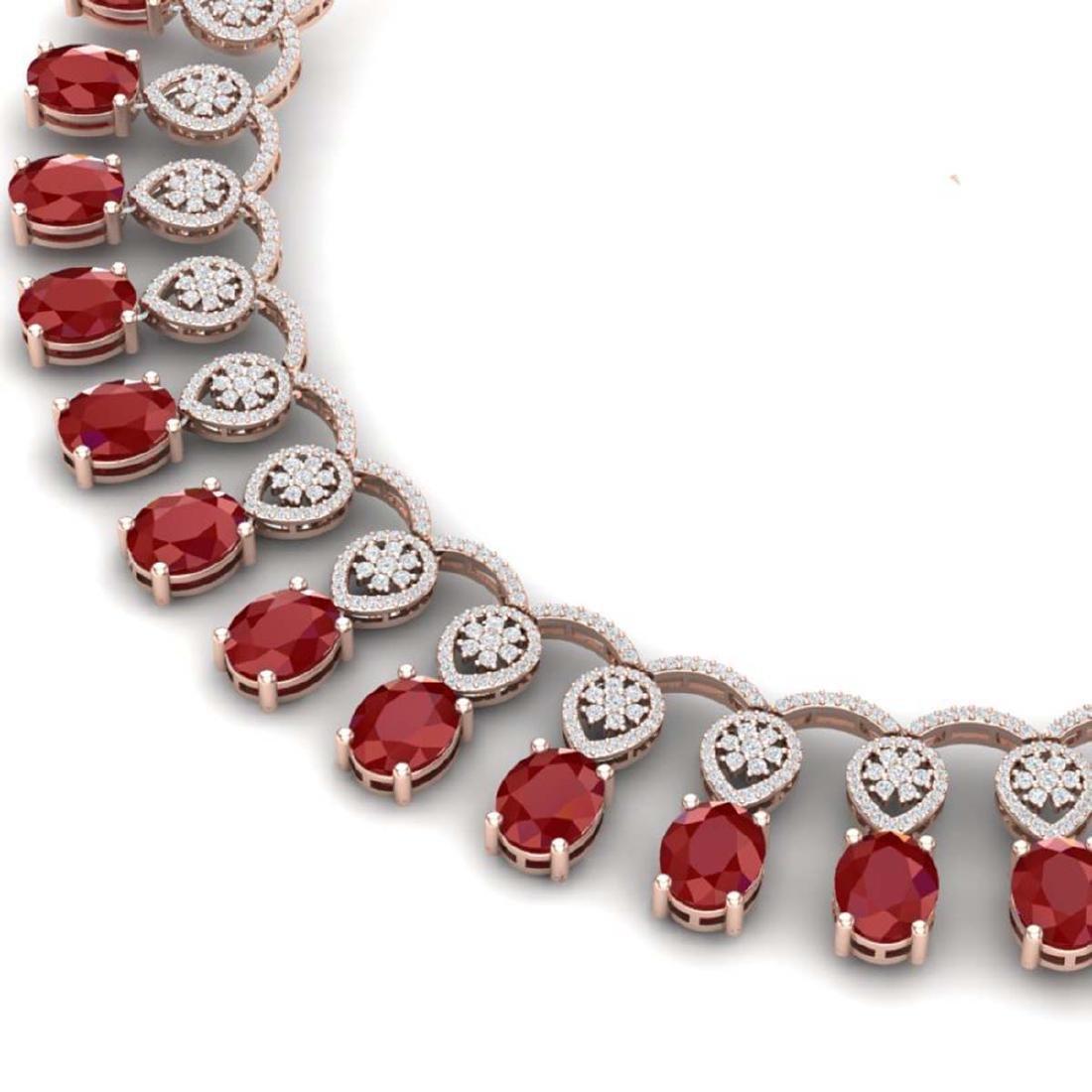 54.05 CTW Royalty Ruby & VS Diamond Necklace 18K Rose - 2