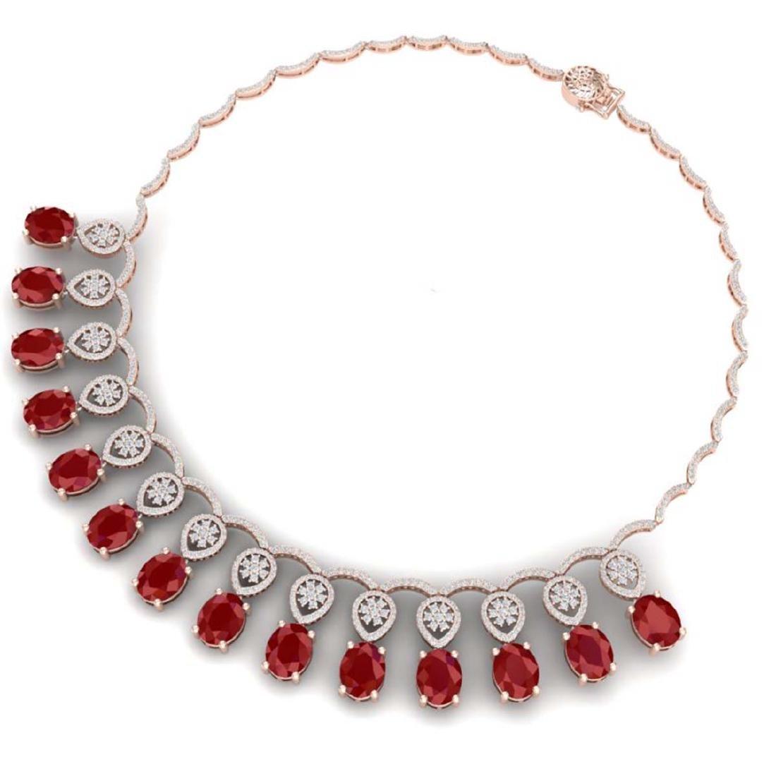 54.05 CTW Royalty Ruby & VS Diamond Necklace 18K Rose - 3