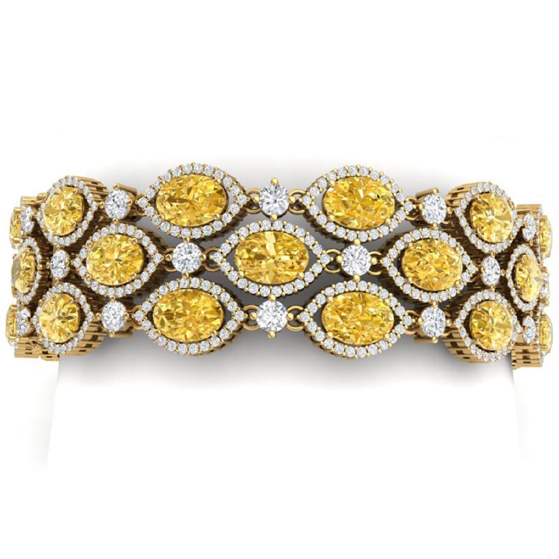 43.84 CTW Canary Citrine & VS Diamond Bracelet 18K Gold