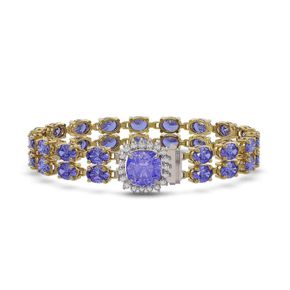 30.43 ctw Tanzanite & Diamond Bracelet 14K Yellow Gold