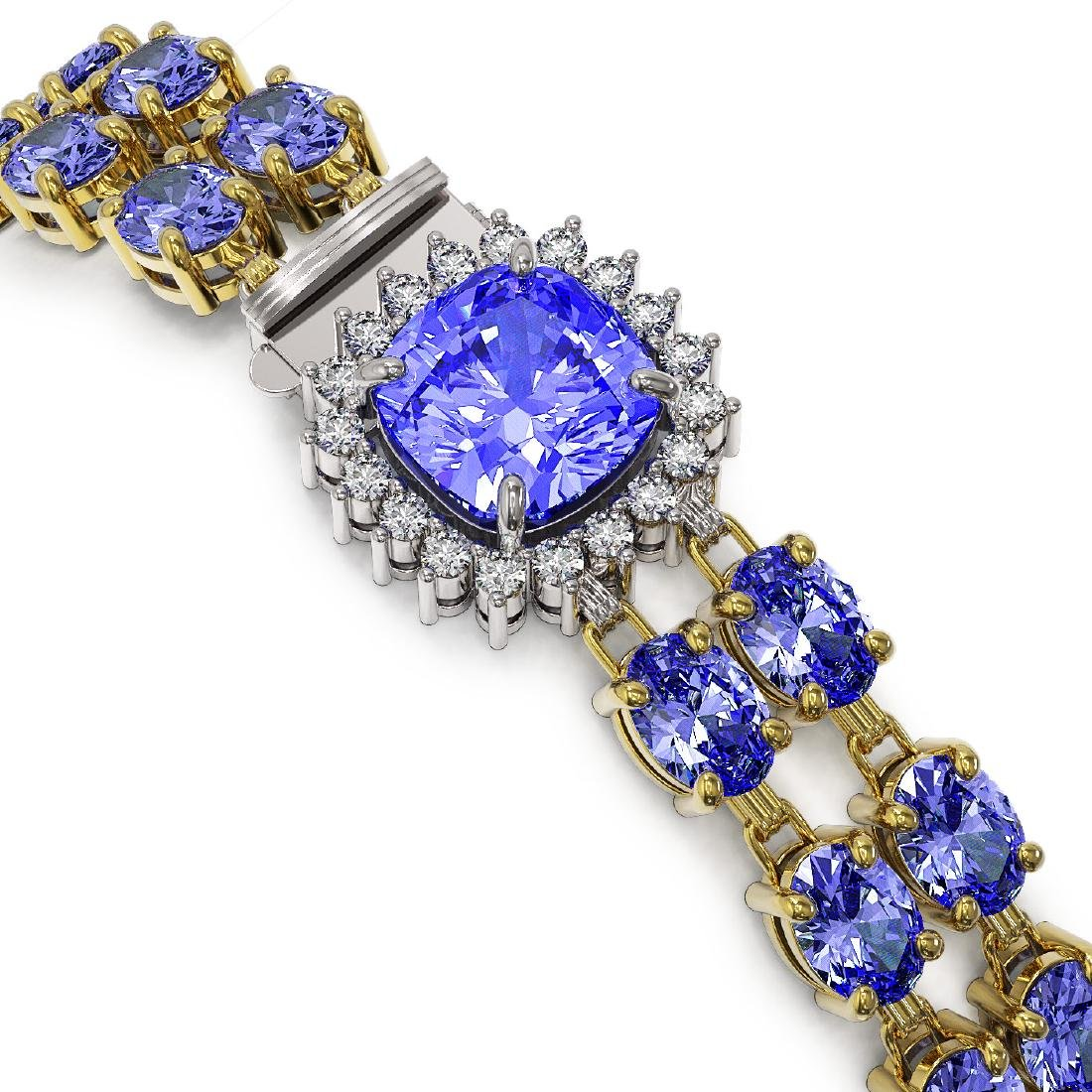 30.43 ctw Tanzanite & Diamond Bracelet 14K Yellow Gold - 2