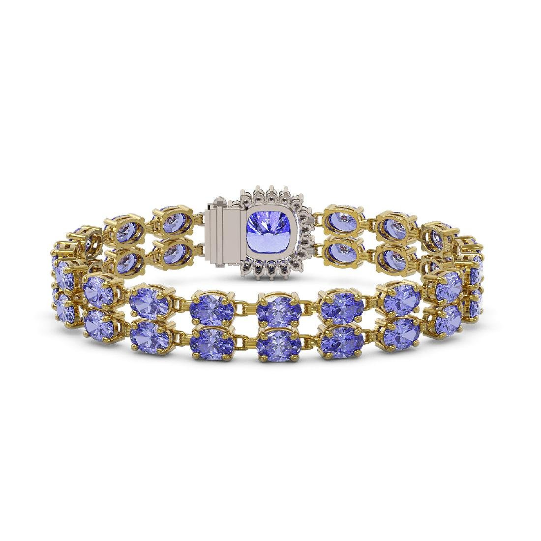 30.43 ctw Tanzanite & Diamond Bracelet 14K Yellow Gold - 3
