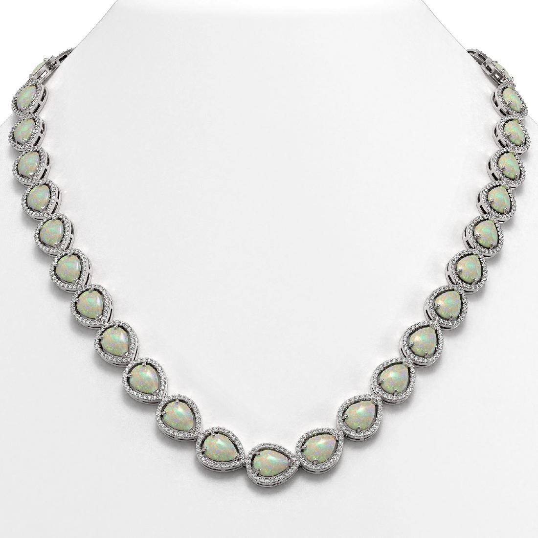 36.48 ctw Opal & Diamond Halo Necklace 10K White Gold -