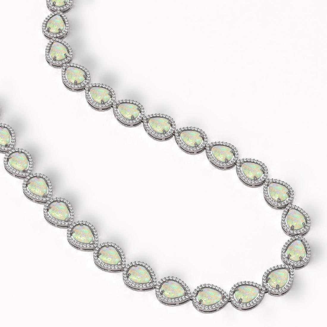 36.48 ctw Opal & Diamond Halo Necklace 10K White Gold - - 2