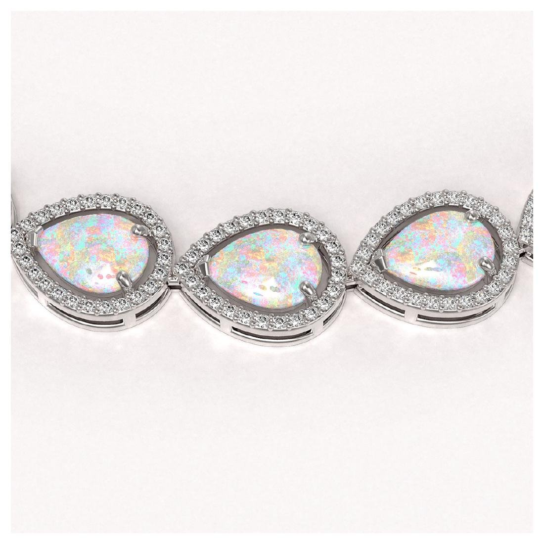 36.48 ctw Opal & Diamond Halo Necklace 10K White Gold - - 3