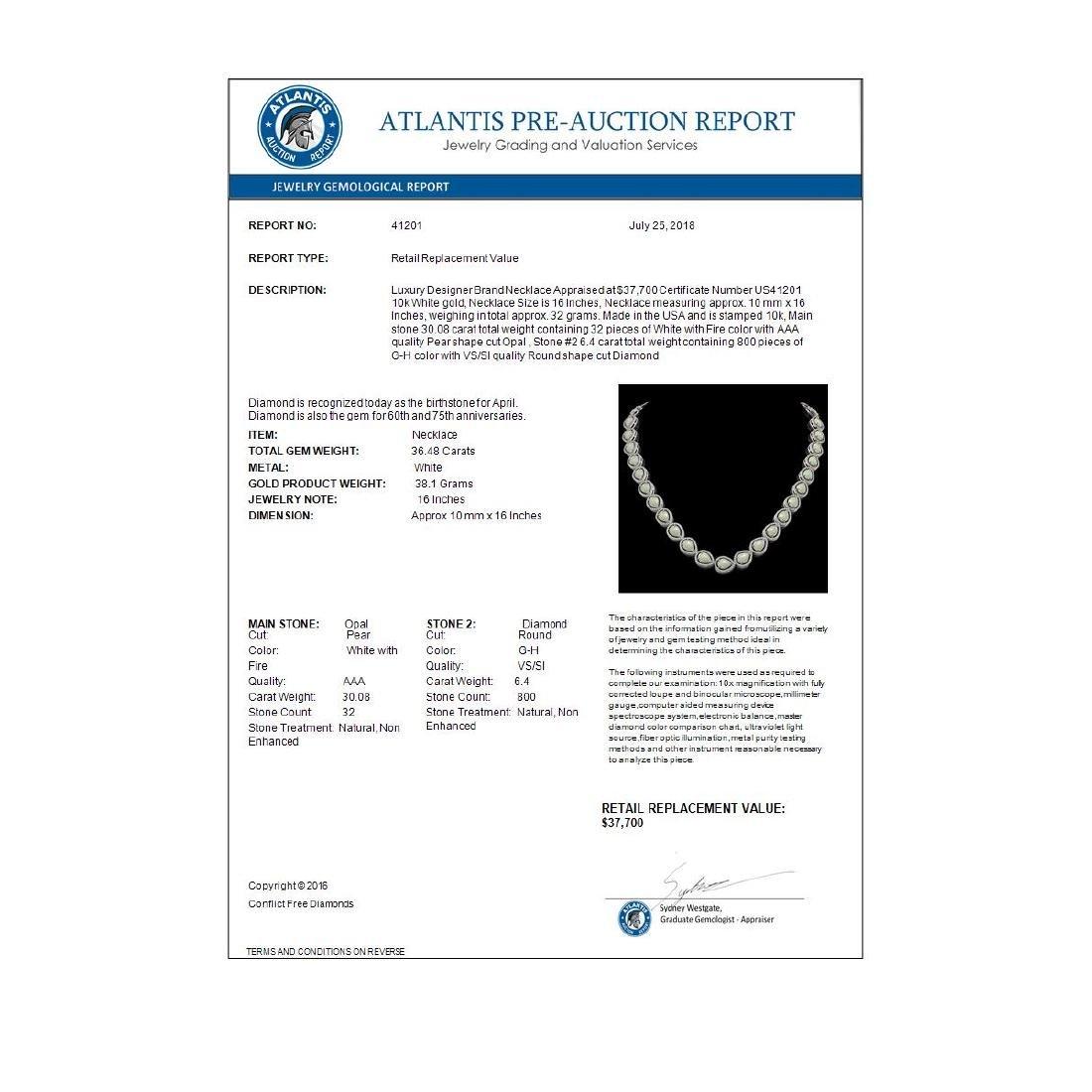 36.48 ctw Opal & Diamond Halo Necklace 10K White Gold - - 4