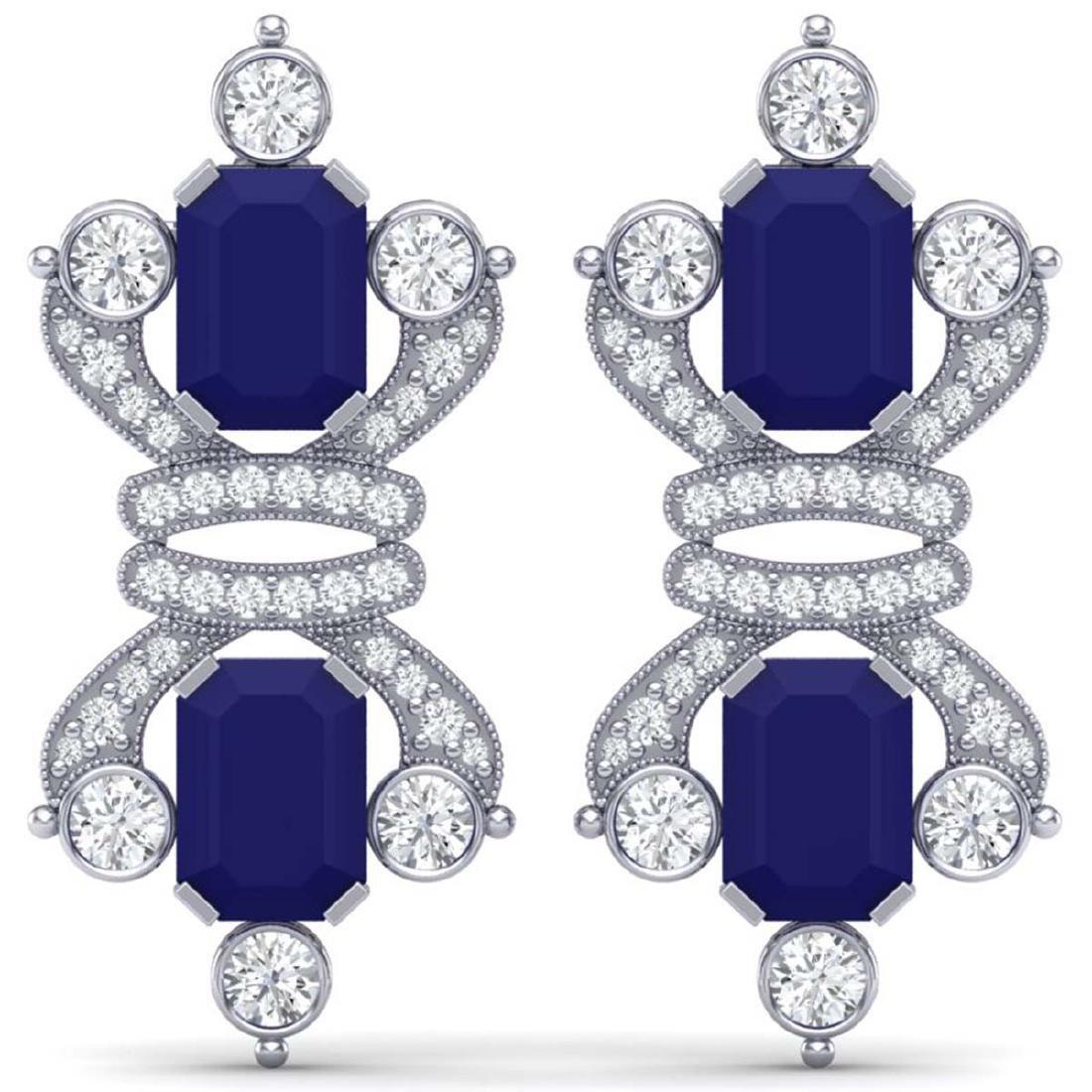 27.36 ctw Sapphire & VS Diamond Earrings 18K White Gold