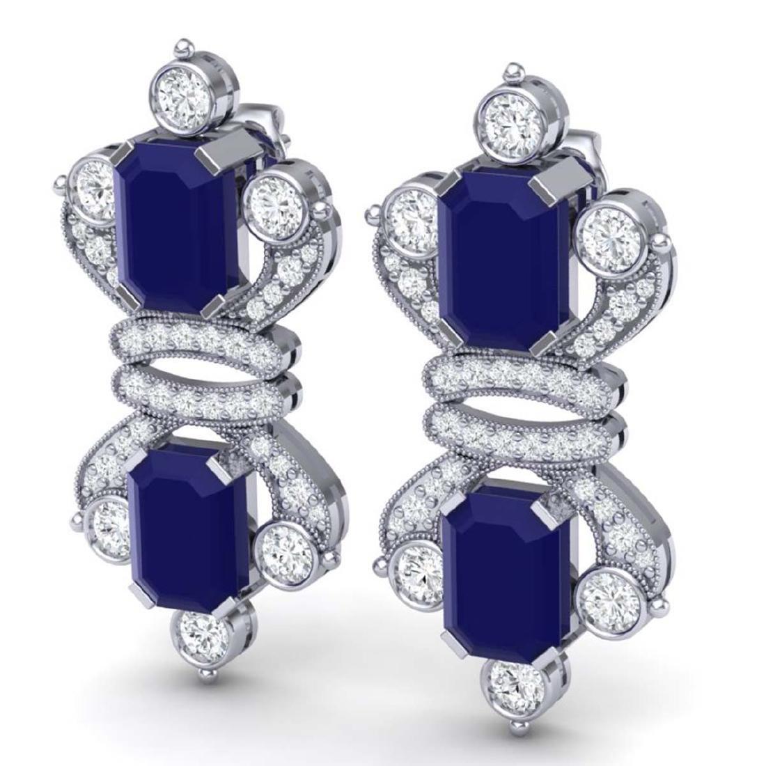 27.36 ctw Sapphire & VS Diamond Earrings 18K White Gold - 2