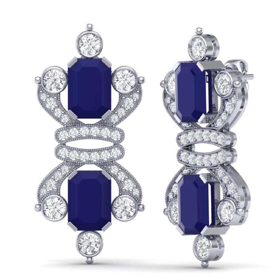 27.36 ctw Sapphire & VS Diamond Earrings 18K White Gold - 3