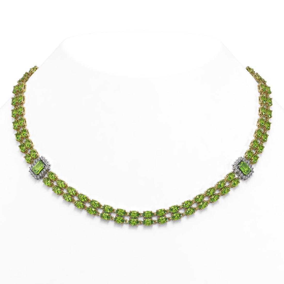 56.5 ctw Peridot & Diamond Necklace 14K Yellow Gold -