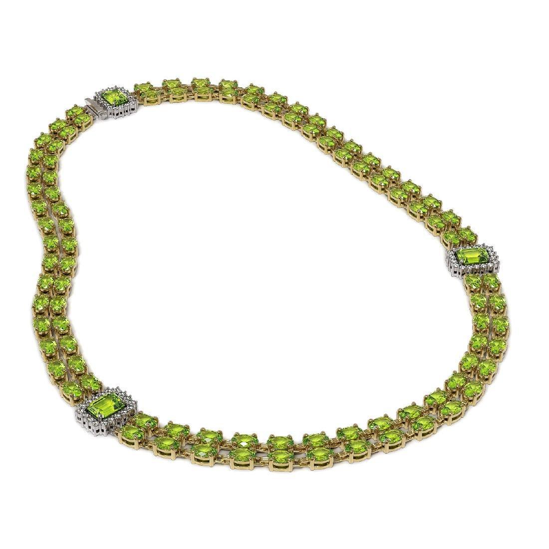 56.5 ctw Peridot & Diamond Necklace 14K Yellow Gold - - 2
