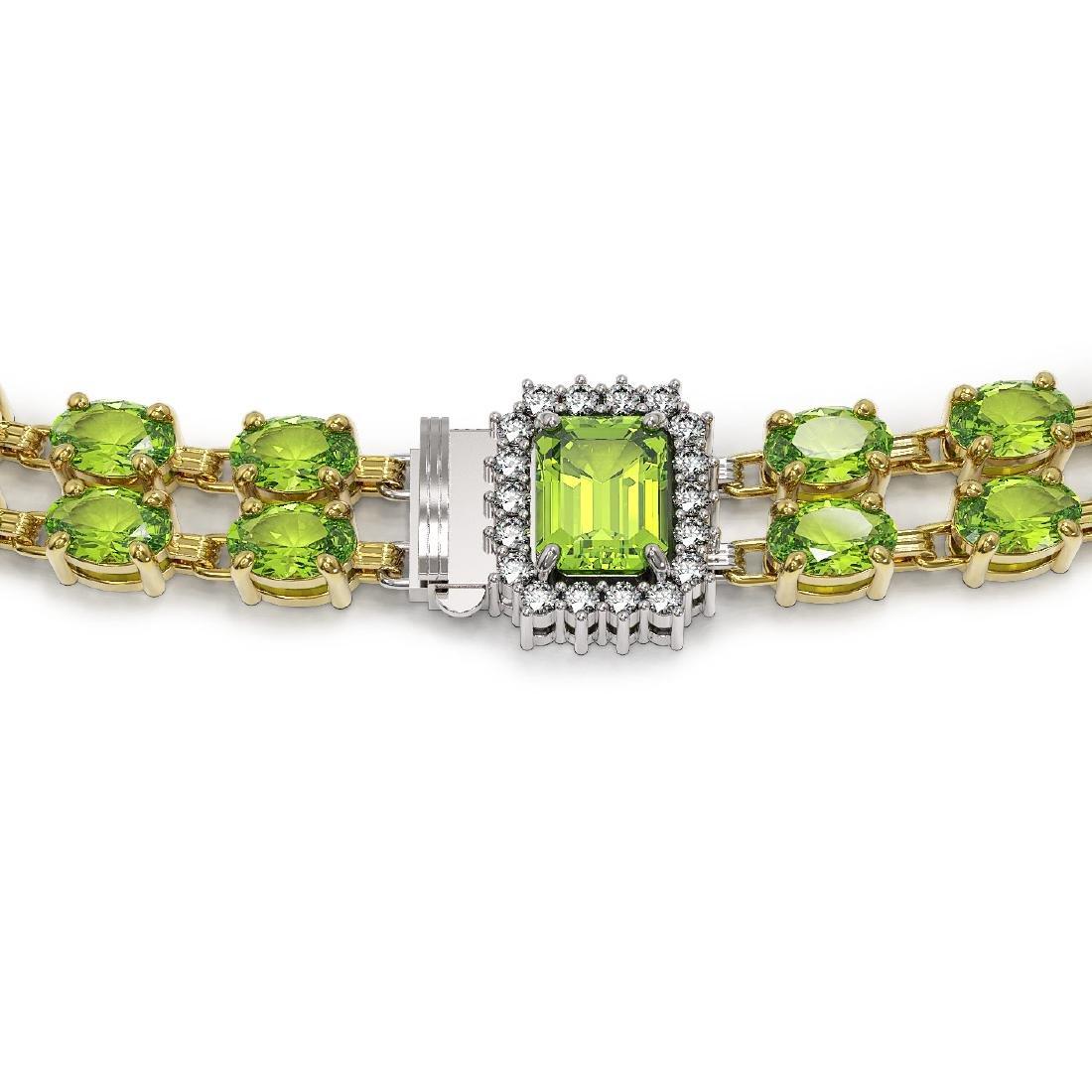 56.5 ctw Peridot & Diamond Necklace 14K Yellow Gold - - 3