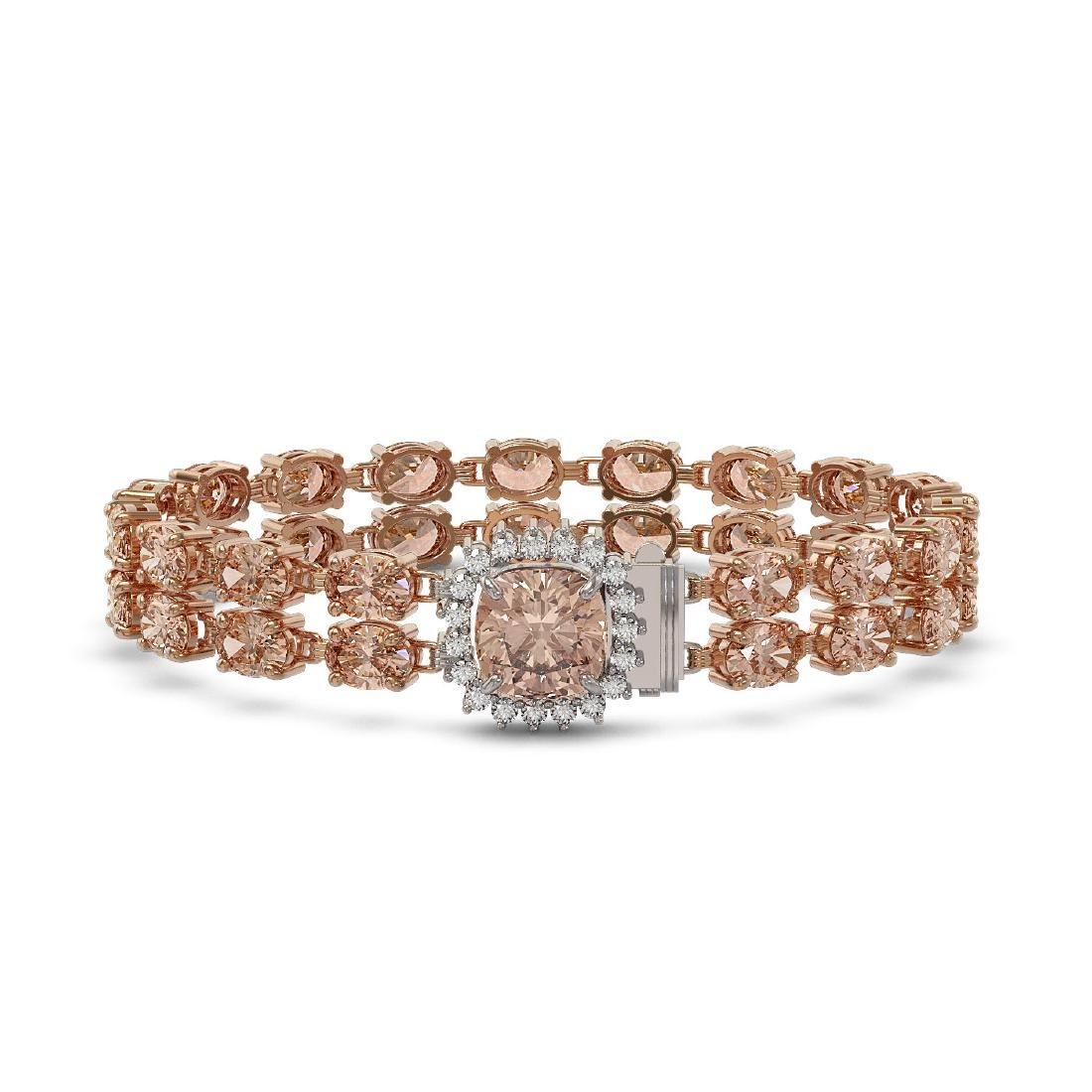 29.63 ctw Morganite & Diamond Bracelet 14K Rose Gold -