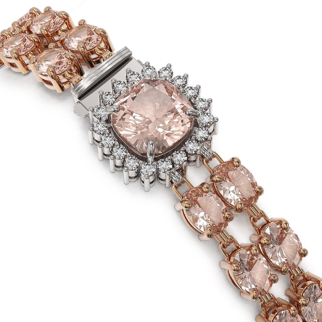 29.63 ctw Morganite & Diamond Bracelet 14K Rose Gold - - 2
