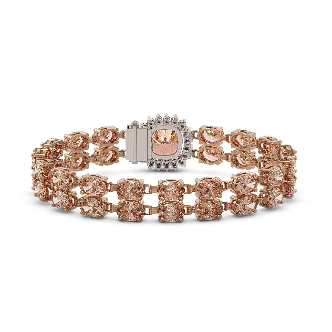 29.63 ctw Morganite & Diamond Bracelet 14K Rose Gold - - 3