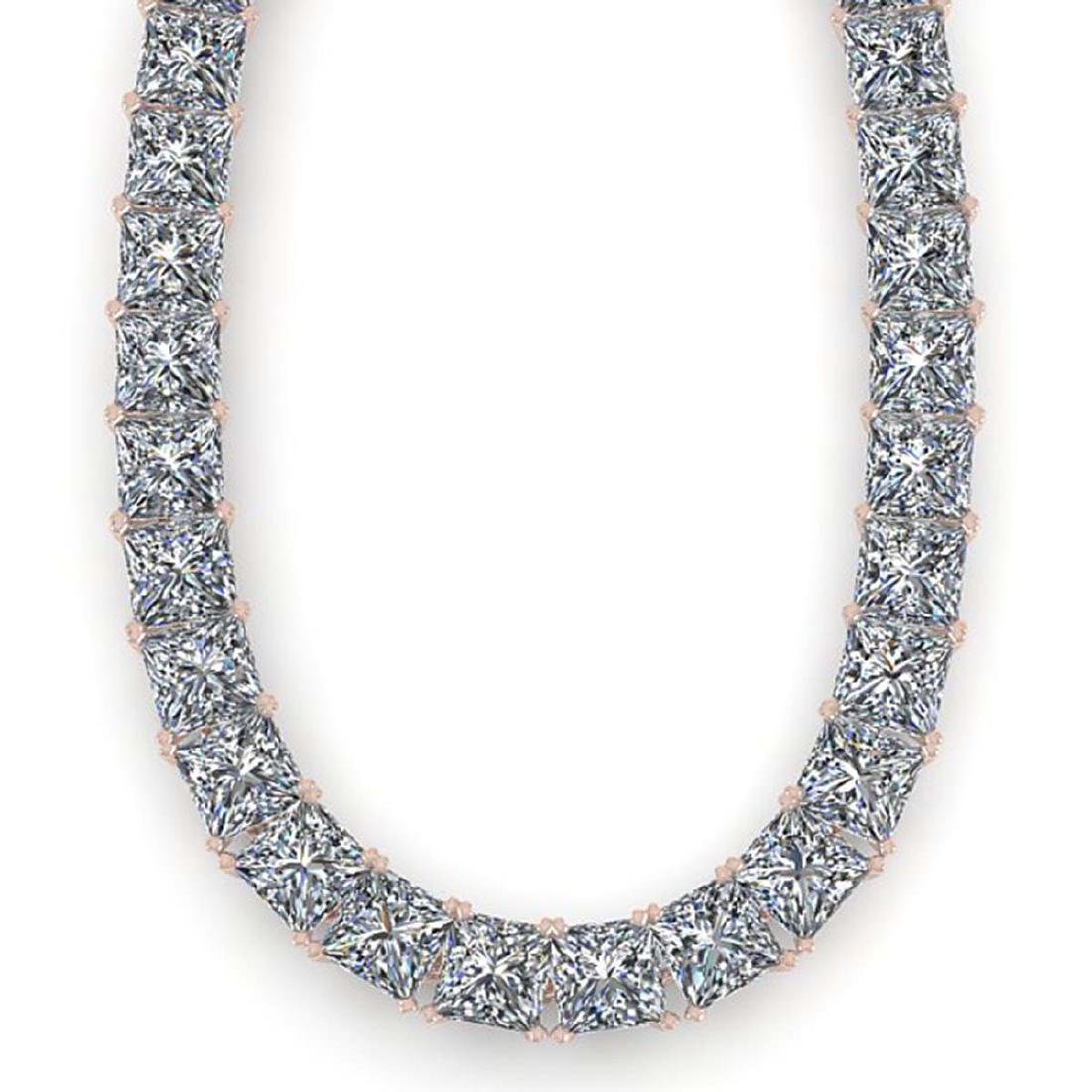 36 ctw Princess SI Diamond Necklace 14K White Gold - - 2