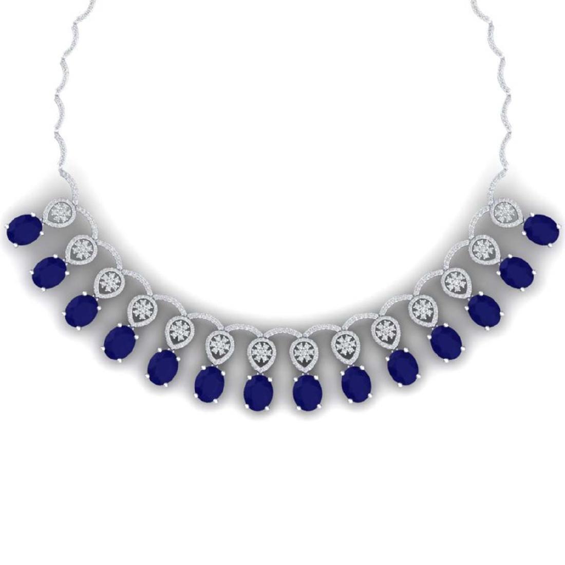 54.05 ctw Sapphire & VS Diamond Necklace 18K White Gold
