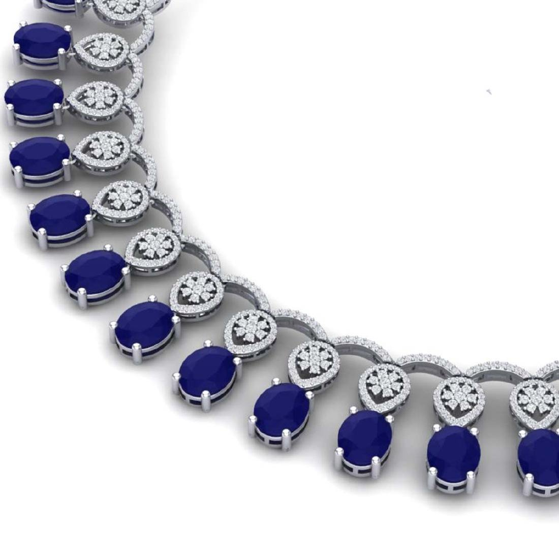 54.05 ctw Sapphire & VS Diamond Necklace 18K White Gold - 2