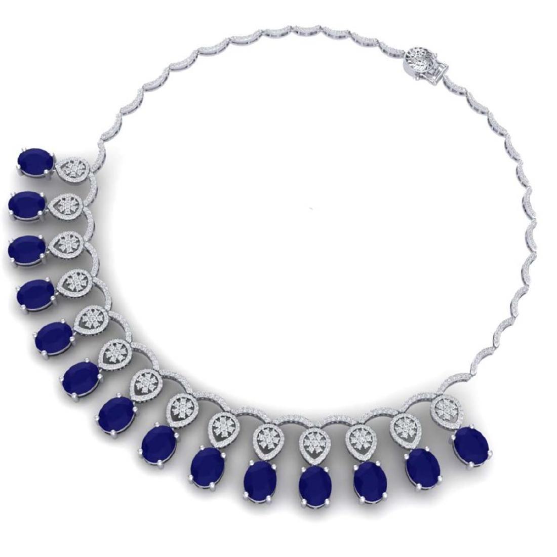 54.05 ctw Sapphire & VS Diamond Necklace 18K White Gold - 3
