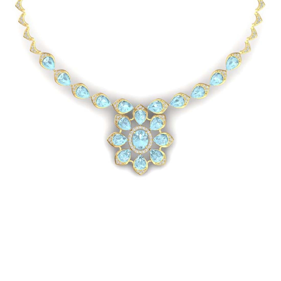 29.34 ctw Sky Topaz & VS Diamond Necklace 18K Yellow