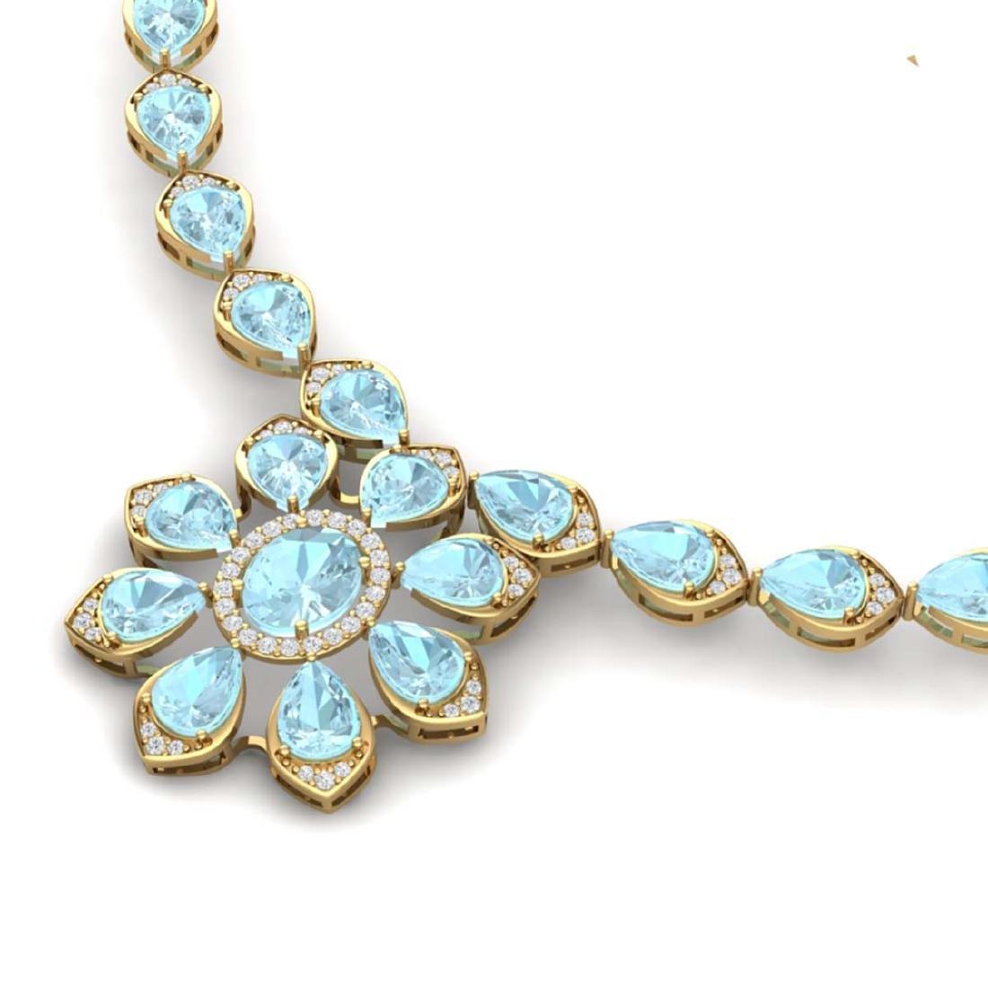 29.34 ctw Sky Topaz & VS Diamond Necklace 18K Yellow - 2