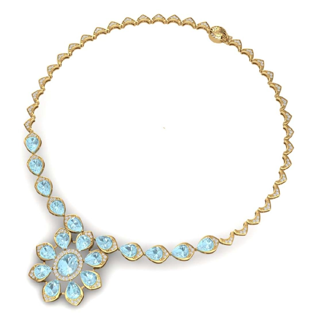 29.34 ctw Sky Topaz & VS Diamond Necklace 18K Yellow - 3