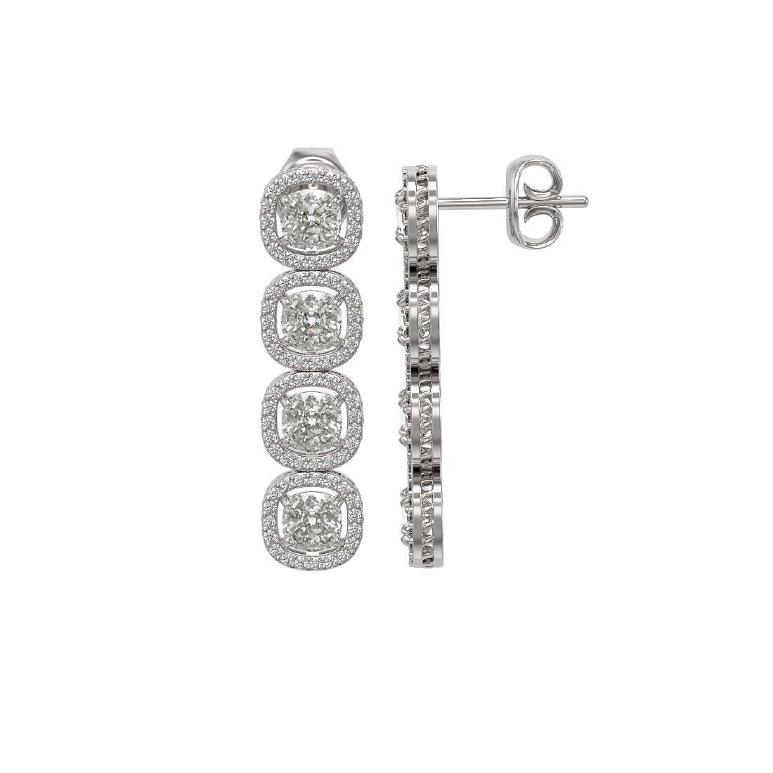 6.01 ctw Cushion Diamond Designer Earrings 18K White - 2