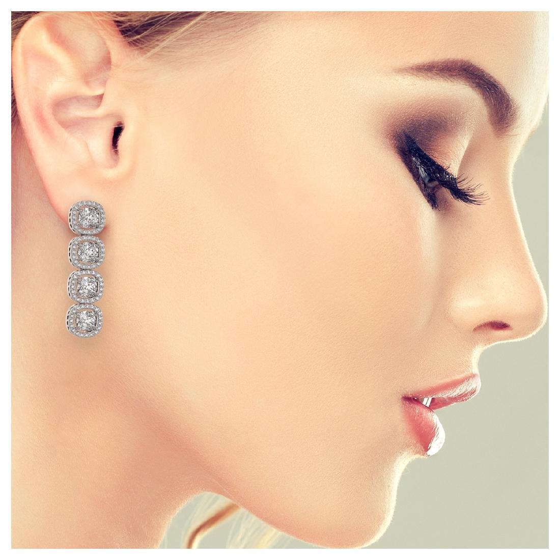 6.01 ctw Cushion Diamond Designer Earrings 18K White - 3