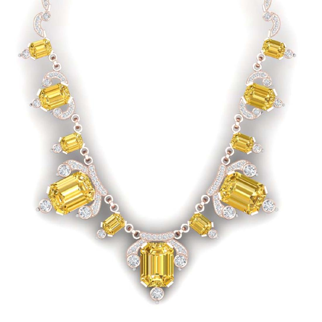 71.48 ctw Canary Citrine & VS Diamond Necklace 18K Rose