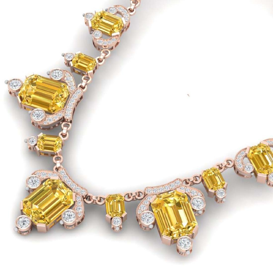71.48 ctw Canary Citrine & VS Diamond Necklace 18K Rose - 2