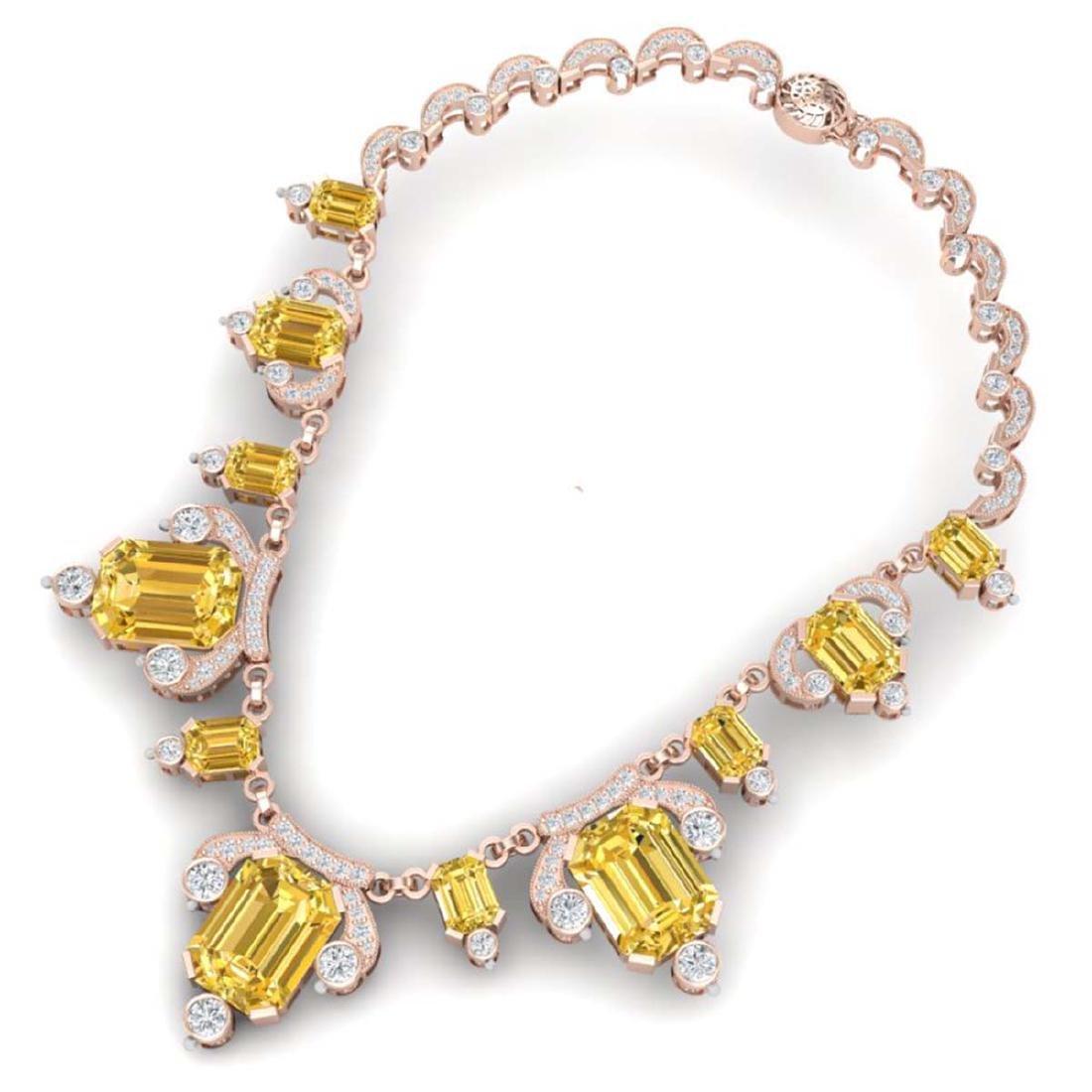 71.48 ctw Canary Citrine & VS Diamond Necklace 18K Rose - 3