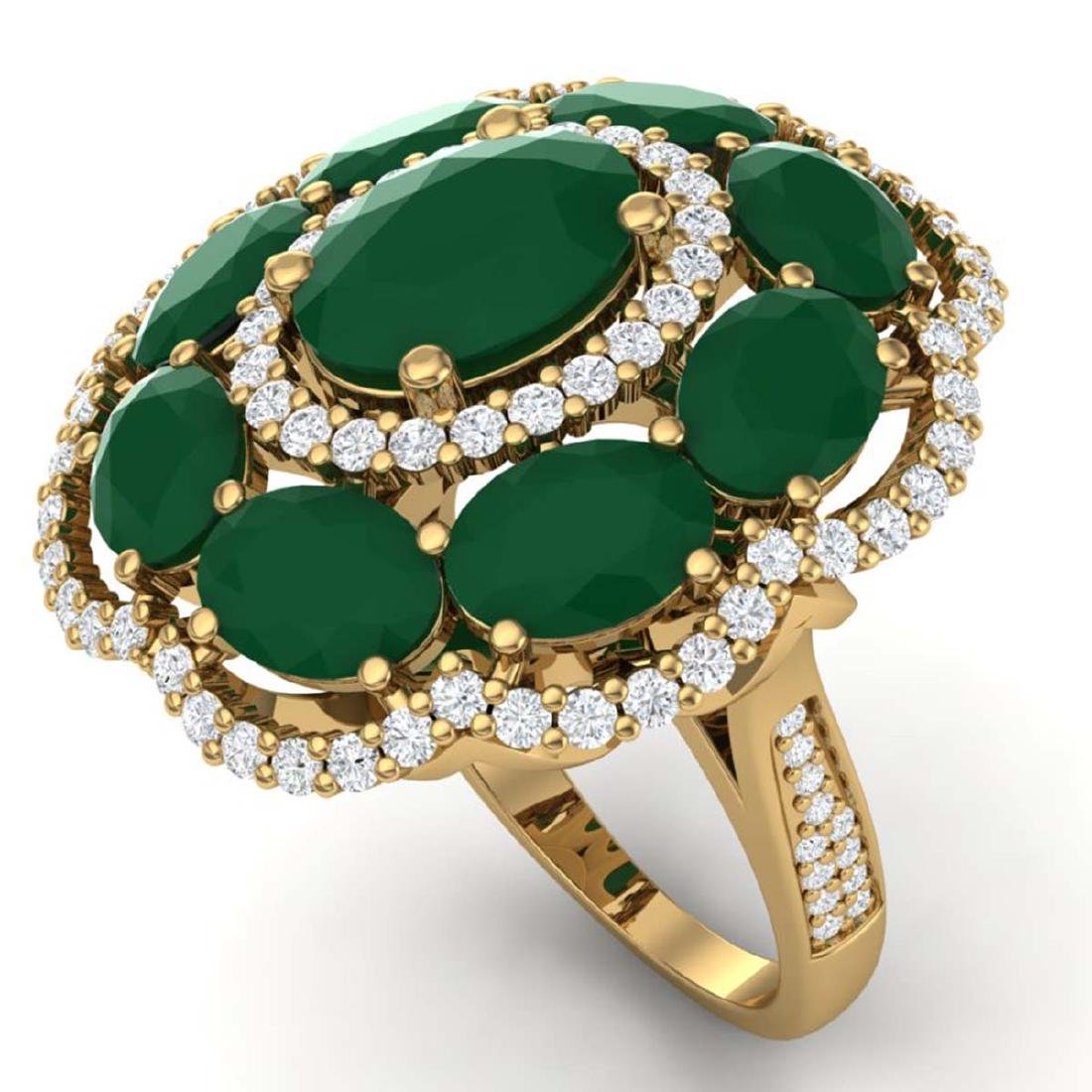 14.4 ctw Designer Emerald & VS Diamond Ring 18K Yellow