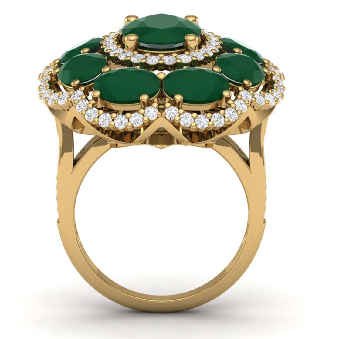 14.4 ctw Designer Emerald & VS Diamond Ring 18K Yellow - 3