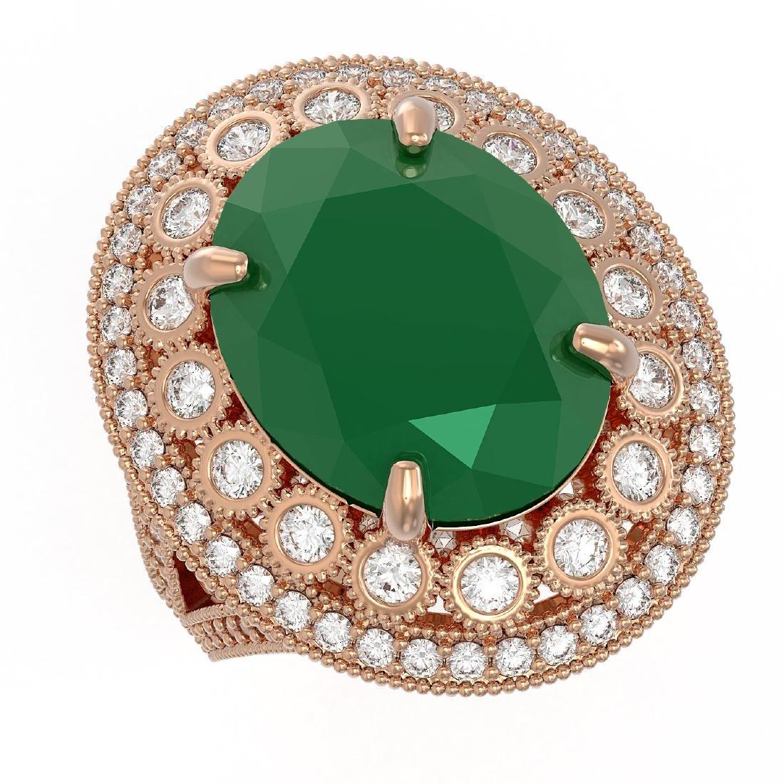 13.85 ctw Emerald & Diamond Victorian Ring 14K Rose