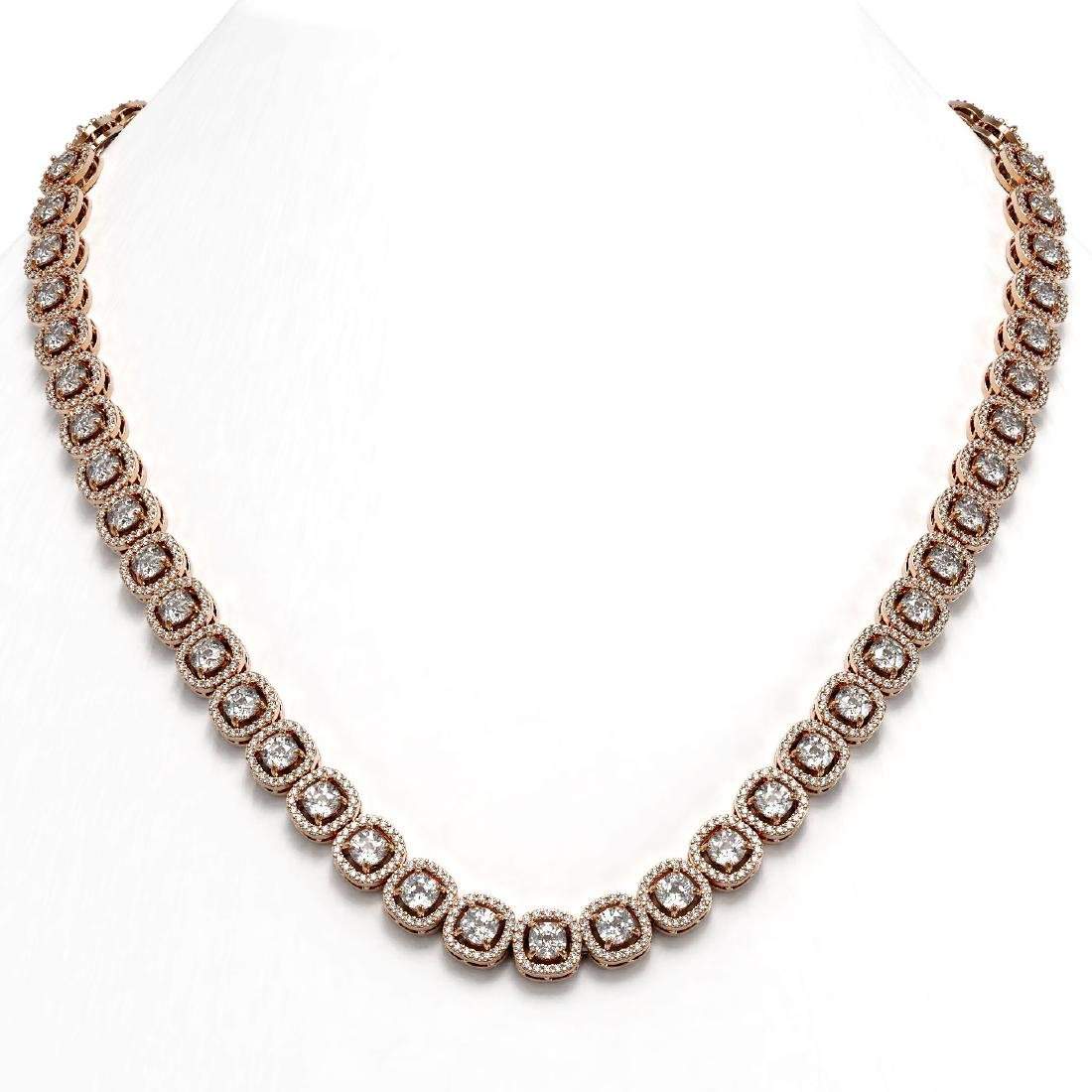 24.4 ctw Cushion Diamond Designer Necklace 18K Rose