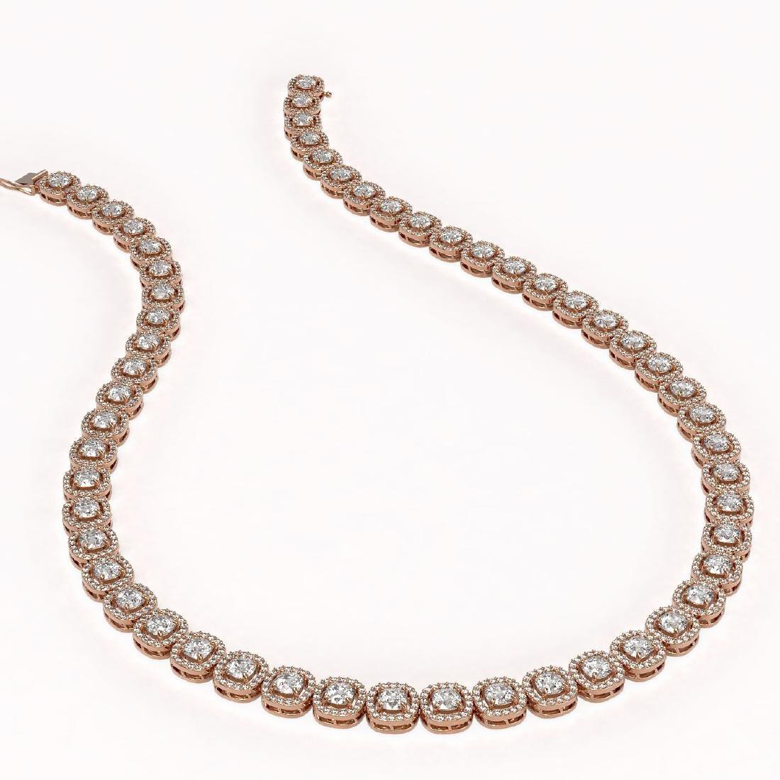 24.4 ctw Cushion Diamond Designer Necklace 18K Rose - 2