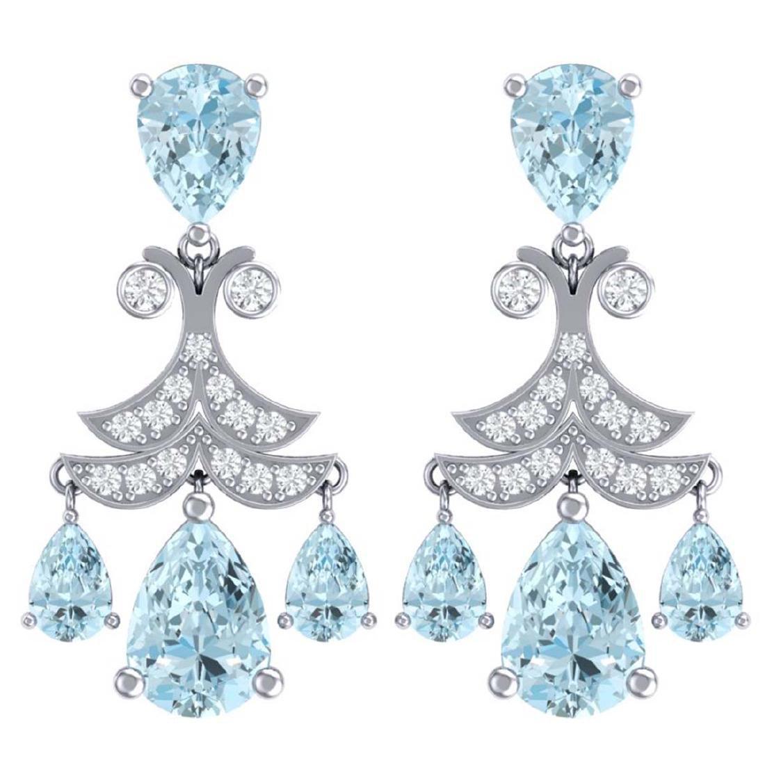 11.35 ctw Sky Topaz & VS Diamond Earrings 18K White