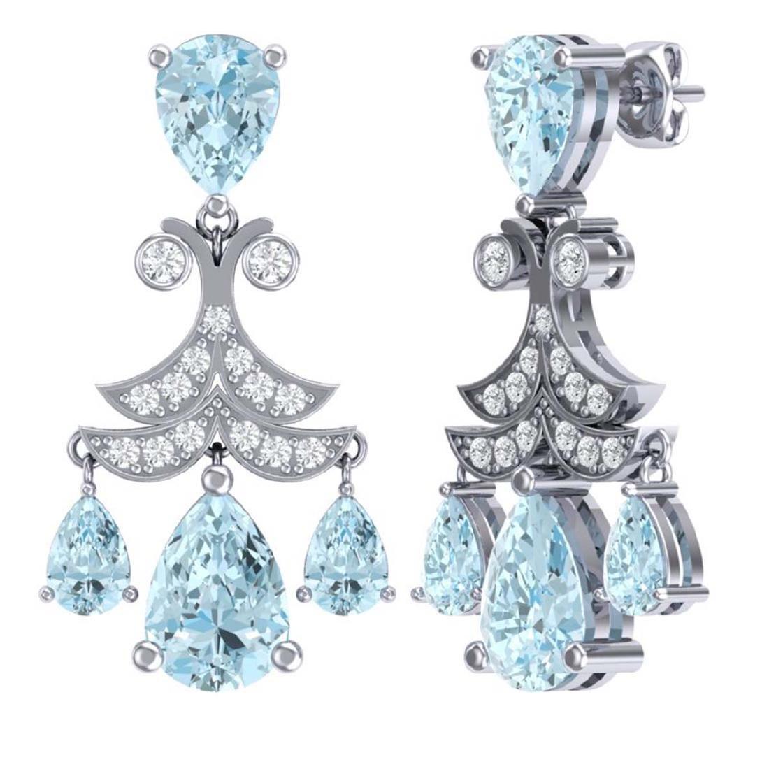 11.35 ctw Sky Topaz & VS Diamond Earrings 18K White - 3