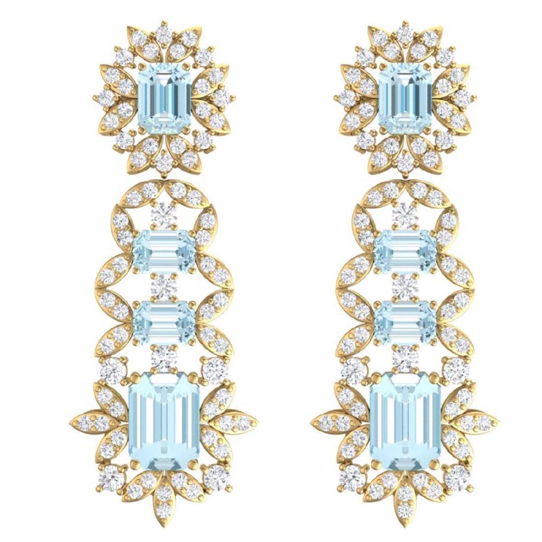 33.36 ctw Sky Topaz & VS Diamond Earrings 18K Yellow