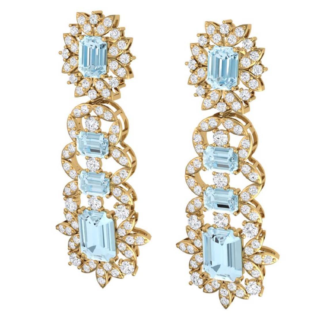 33.36 ctw Sky Topaz & VS Diamond Earrings 18K Yellow - 2