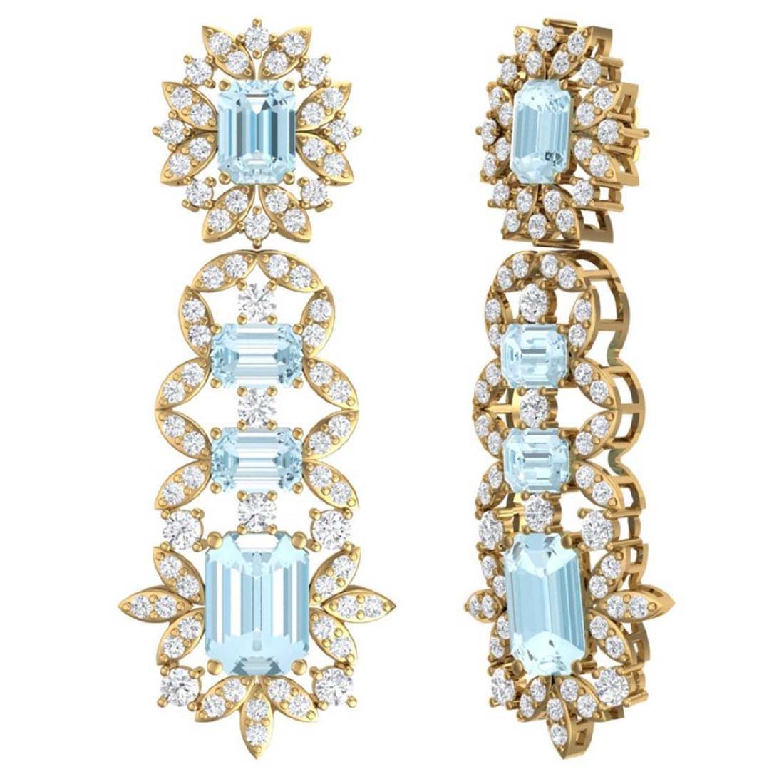 33.36 ctw Sky Topaz & VS Diamond Earrings 18K Yellow - 3