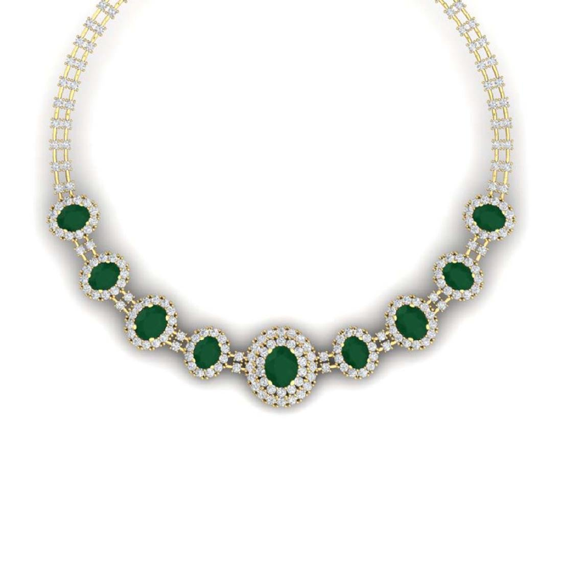 45.69 ctw Emerald & VS Diamond Necklace 18K Yellow Gold