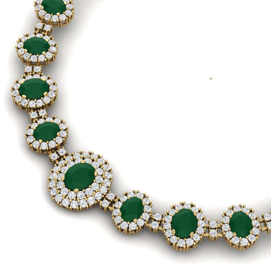 45.69 ctw Emerald & VS Diamond Necklace 18K Yellow Gold - 2