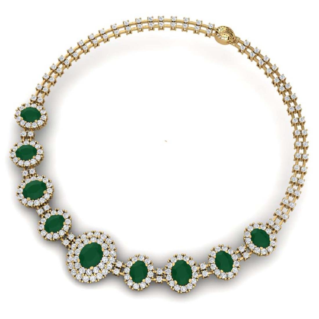 45.69 ctw Emerald & VS Diamond Necklace 18K Yellow Gold - 3