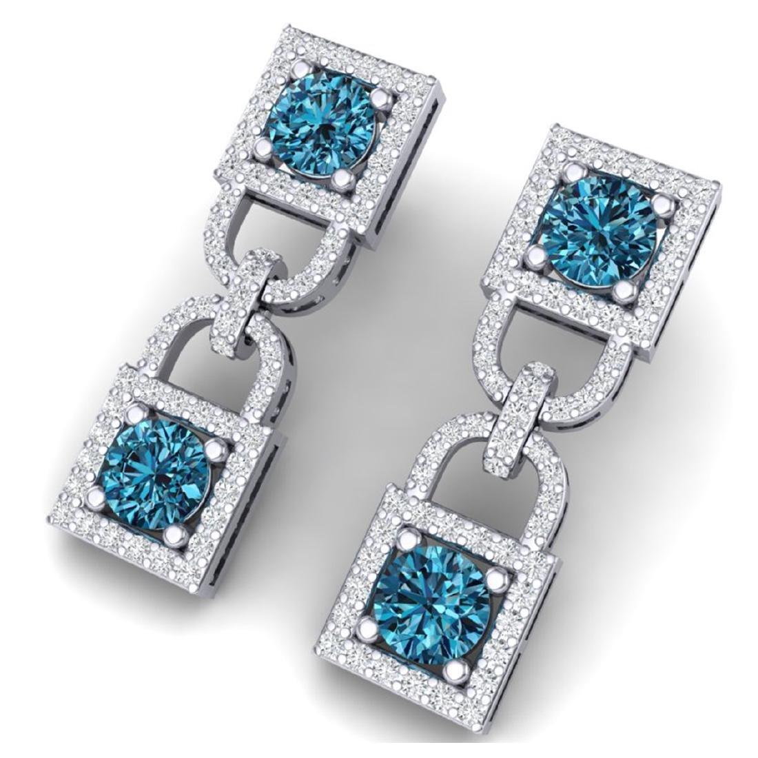 4 ctw SI/I Intense Blue & Diamond Earrings 18K White