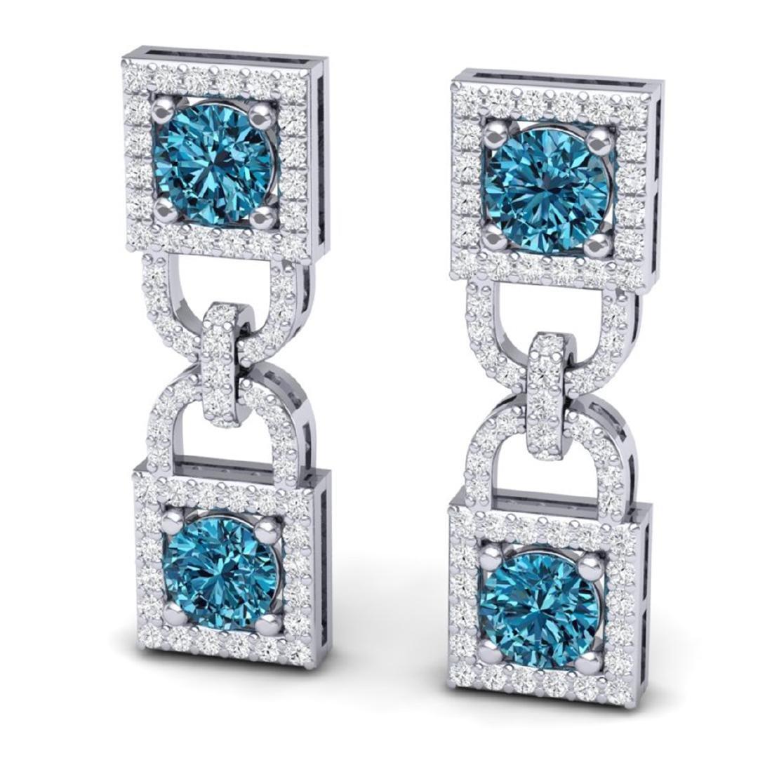 4 ctw SI/I Intense Blue & Diamond Earrings 18K White - 2