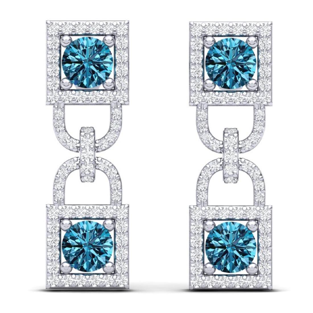 4 ctw SI/I Intense Blue & Diamond Earrings 18K White - 3
