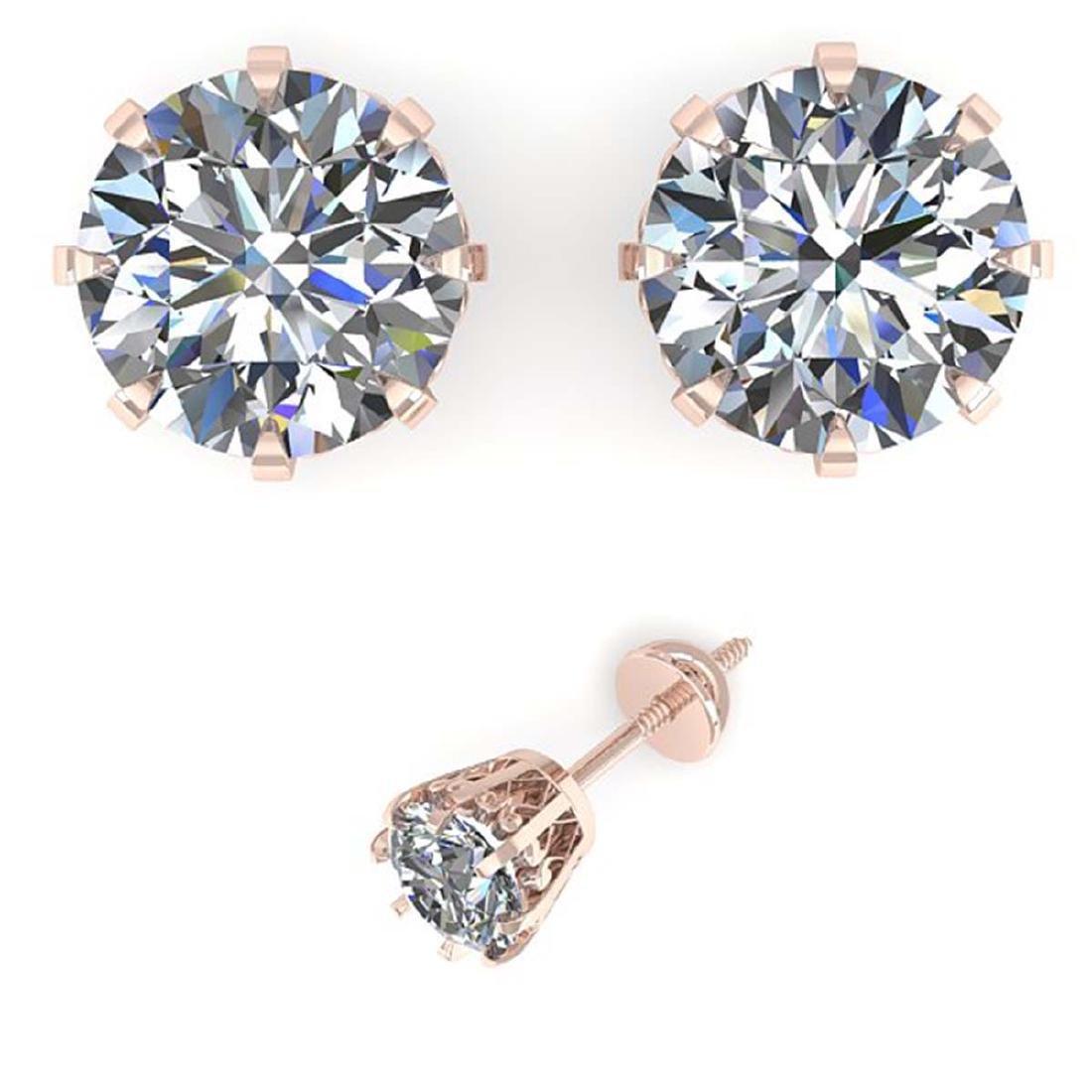 2.50 ctw VS/SI Diamond Stud Solitaire Earrings 14K Rose - 2